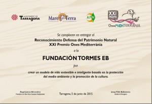 Diploma acreditativo de la concesión de uno de los Premios Ones Mediterrània a la Fundación Tormes-EB.